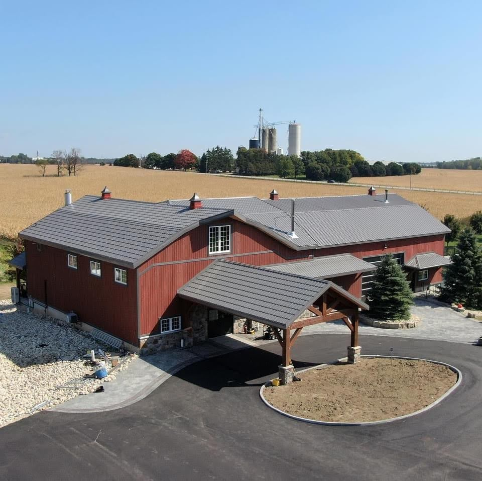 PicturBarn restoration for a wedding barn.  Drone picture of front barn.