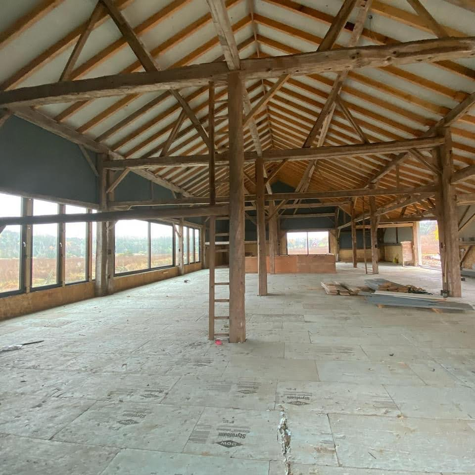 Interior of timber barn that is being restored.