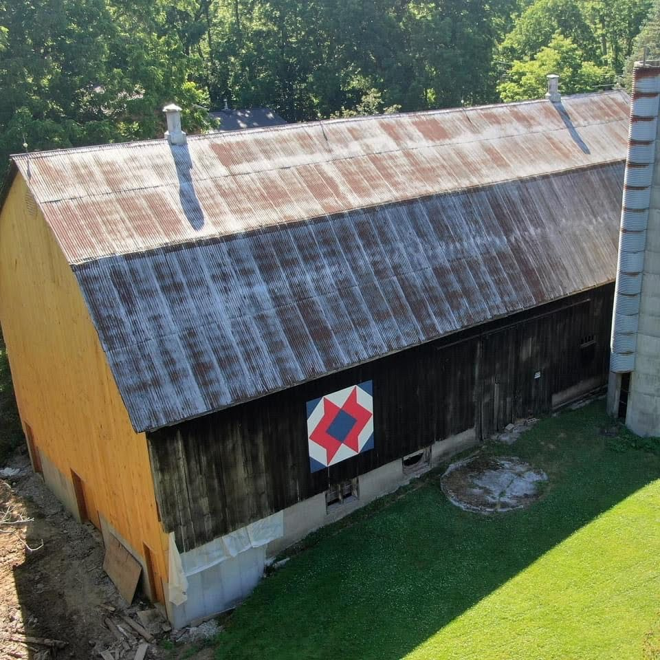 Drone picture of a bank barn.